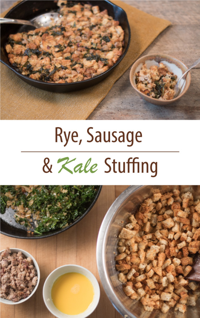 Satisfying sausage stuffing with a hint of rye and kale.